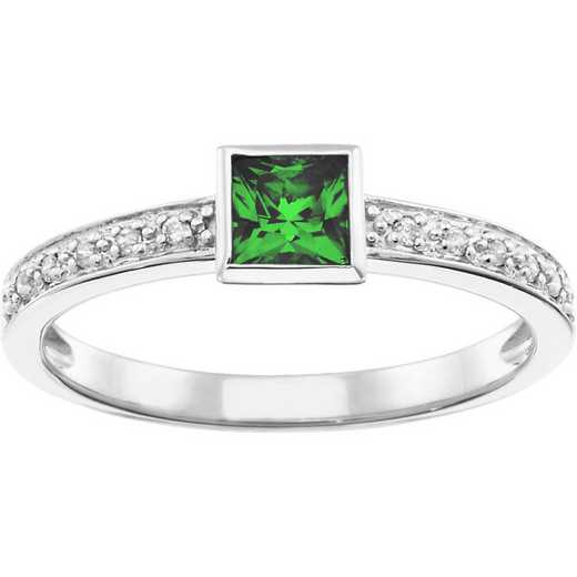 Women's Stackable Band with Princess-Cut Center Stone