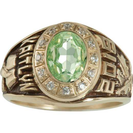 Women's Large Class Ring with Birthstone and CZ or Diamonds: Stylist Prestige