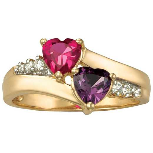Women's Double Heart Birthstone Ring - Sweetheart