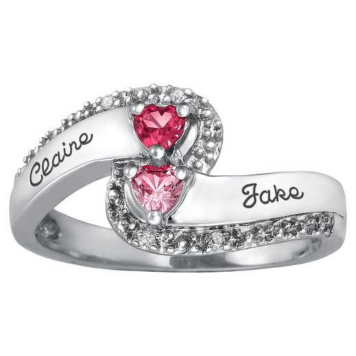 Ladies' Double-Heart Ribbon Ring: Swirl