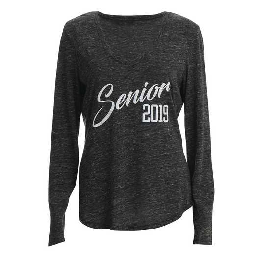 Women's Senior 2019 Snow Heather V-Neck Long Sleeve T-Shirt