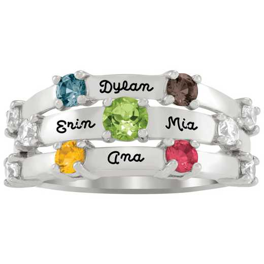 Mother's Three-Row Personalized Ring: Triplicate