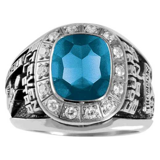 Men's Large Traditional Class Ring with Birthstone and Diamond or CZ: Triumph Prestige