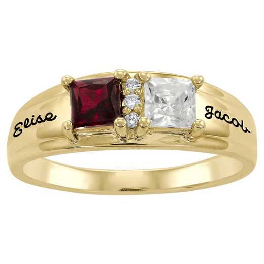 Ladies' Promise Ring with Two Square-Cut Birthstones and CZ: Truelove