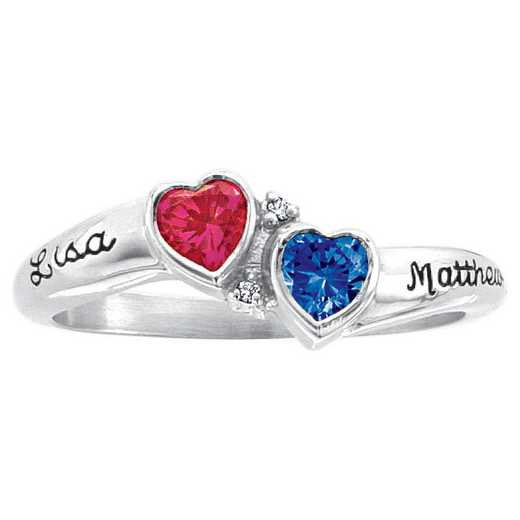 Ladies' Double Heart-Shaped Birthstone Promise Ring with White Topaz Accents: Valentine