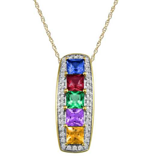 Mother's Square Birthstone Pendant with 1-5 Stones: Waterfall