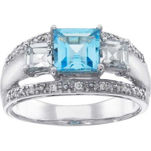 Ladies' Princess Cut Birthstone Ring with Cubic Zirconia or White Topaz: Winter Solstice