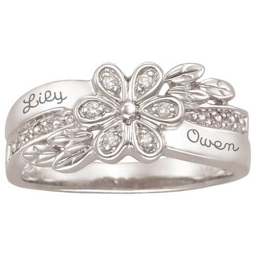 Ladies' Flower Ring with Accent Diamonds: Zinnia