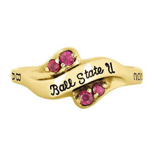 Ball State Women's Seawind College Ring with Diamonds and Birthstone