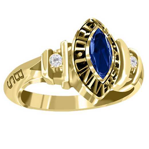 Drexel University Women's Duet Ring with Diamonds and Birthstone