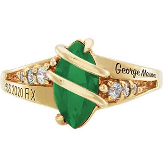 George Mason University Women's Windswept College Ring