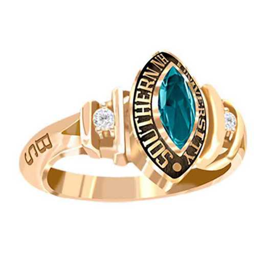 Southern New Hampshire University Women's Duet College Ring with Diamonds and Birthstone