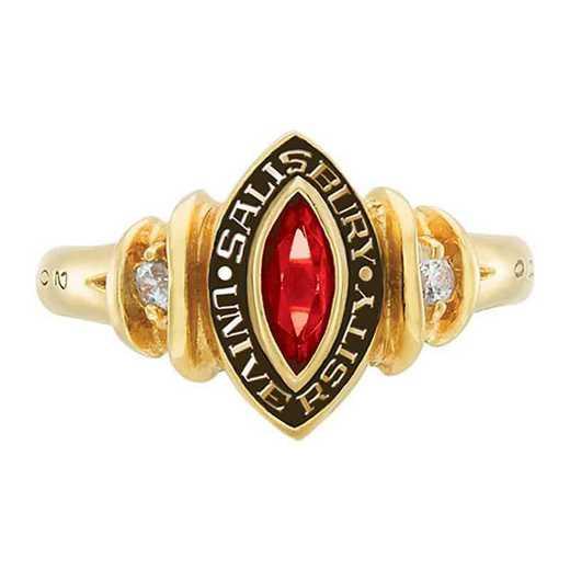 Salisbury University Women's Duet College Ring with Diamonds and Birthstone