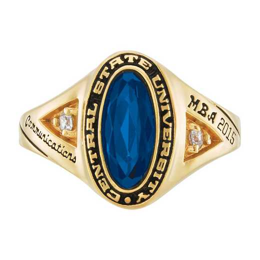 Salem State University Women's Signature Ring with Diamond