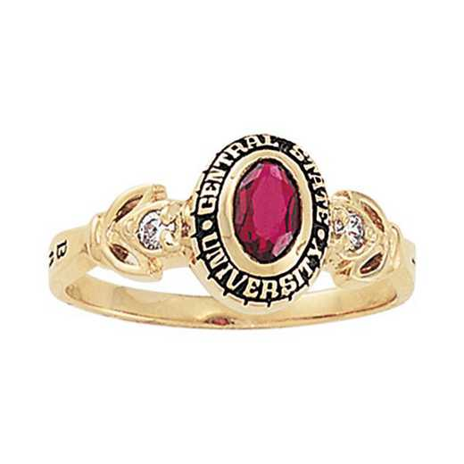 Salem State University Women's Twilight Ring with Diamond and Birthstone