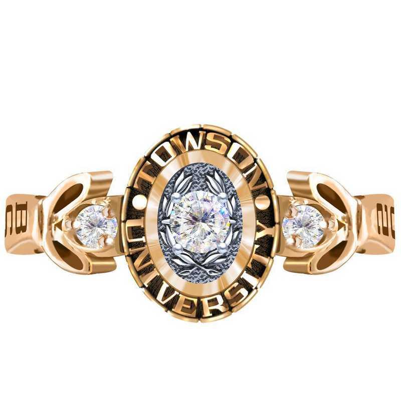 Towson University Twilight Ring with Diamond Top - Women's
