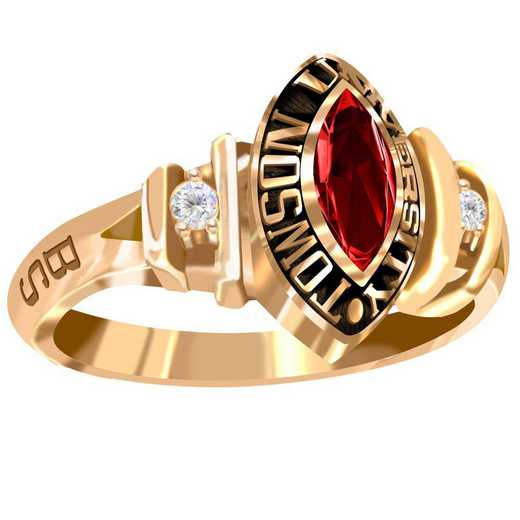 Towson University Duet Ring with Diamonds and Birthstone - Women's