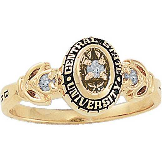 University of California at Riverside Women's Twilight Ring with Diamond Top College Ring