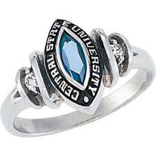 Wright State University Boonshoft School of Medicine Women's Duet Ring with Diamond and Birthstone