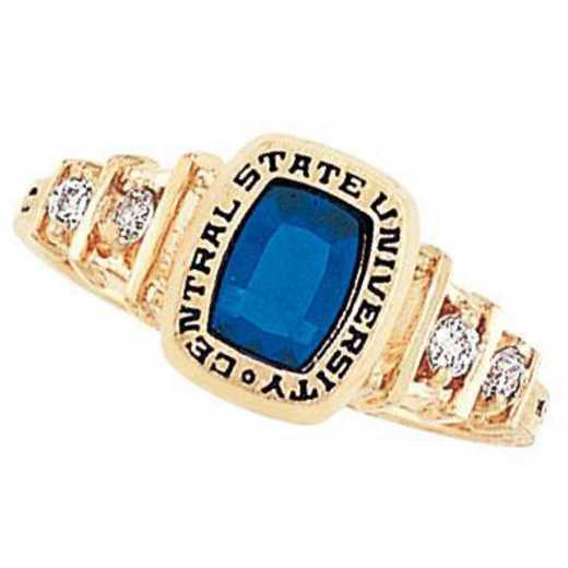 Sonoma State University Women's Highlight Ring with Cubic Zirconia Side Stones