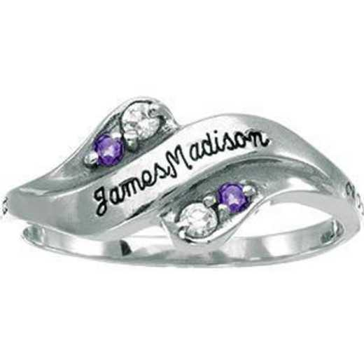 James Madison University Class of 2012 Women's Seawind Ring with Diamonds and Birthstones