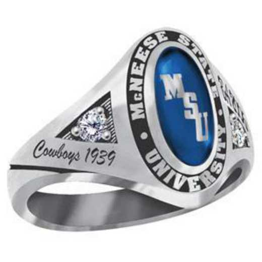 McNeese State University Women's Signature Ring with Cubic Zirconia Side Stones