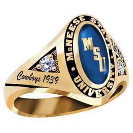 McNeese State University Women's Signature Ring with Diamond Side Stones