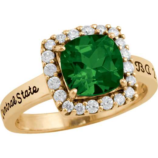 University of Vermont Embrace Ring with Cubic Zirconias