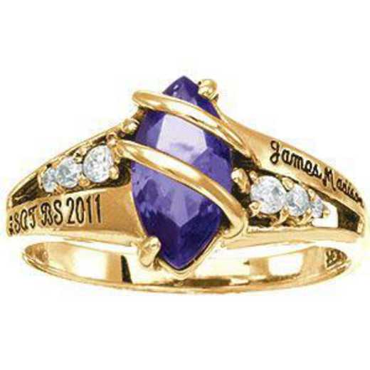 James Madison University Class of 2011 Women's Windswept Ring with Cubic Zirconias