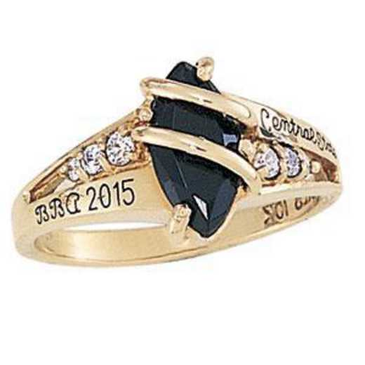 Wright State University Women's Windswept Ring with Cubic Zirconias