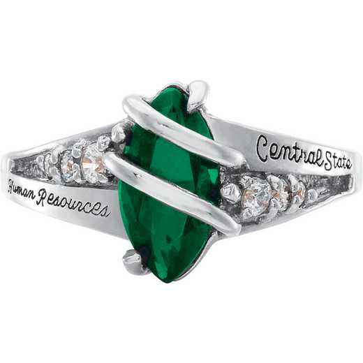 University of Vermont Windswept Ring with Cubic Zirconias