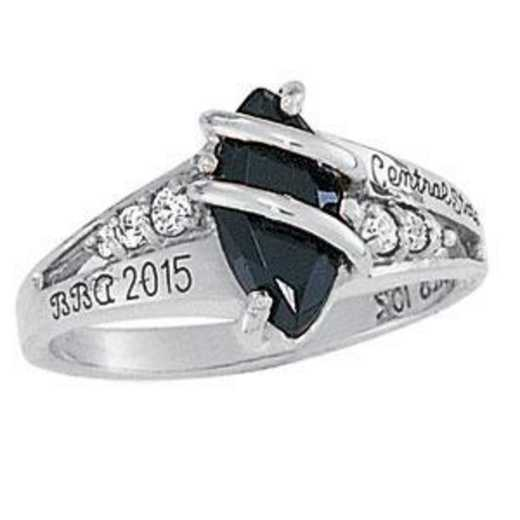 Rider University Women's Windswept Ring with Cubic Zirconias