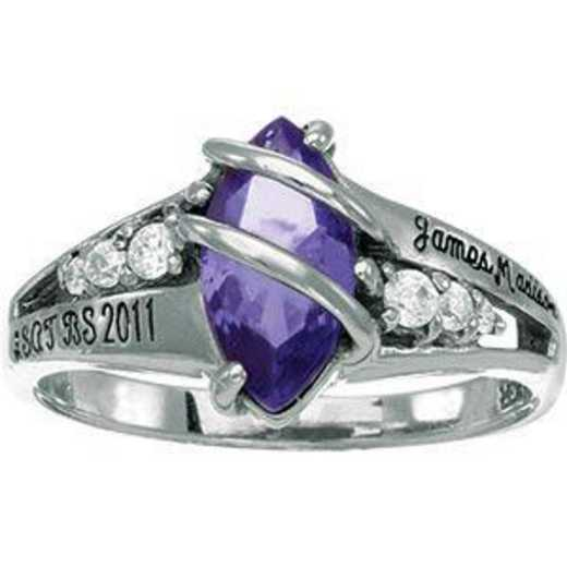 James Madison University Class of 2011 Women's Windswept Ring with Diamonds