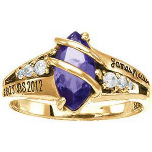 James Madison University Class of 2012 Women's Windswept Ring with Diamonds