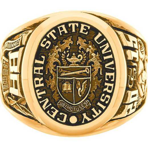 Towson University Men's Collegian College Ring with All Metal Top
