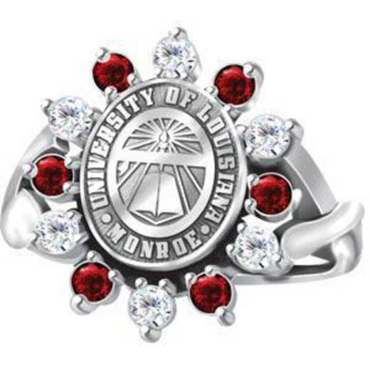 University of Louisiana at Monroe Women's Dinner Ring with Synthetic Garnets or Cubic Zirconias