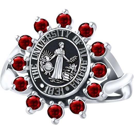 University of Alabama Women's Dinner Ring with Garnets-Cubic Zirconias or Alternating