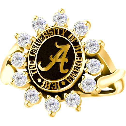 University of Alabama Women's Dinner Ring with Diamonds
