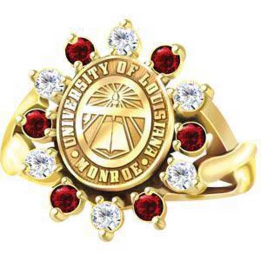 University of Louisiana at Monroe Women's Dinner Ring with Diamonds and Synthetic Garnets
