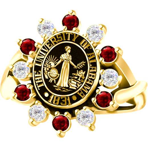 University of Alabama Women's Dinner Ring with Alternating Diamonds and Garnets