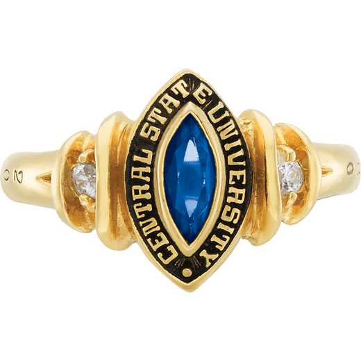 University of California at Riverside Women's Duet Ring with Diamonds and Birthstone College Ring