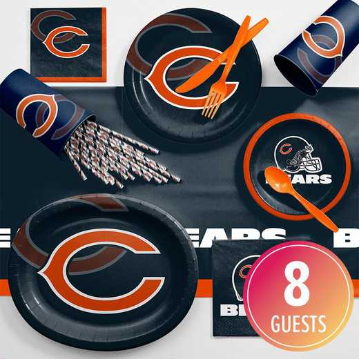 DTC9506C2C: CC Chicago Bears Ultimate Fan Party Supplies Kit 8ct