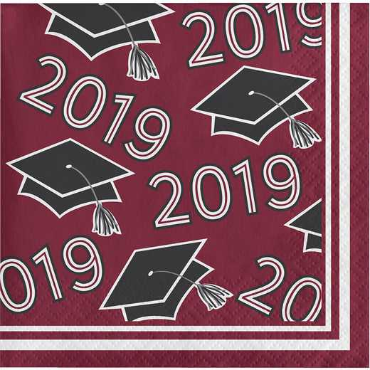 DTC335405BNAP: CC Burgundy Class Of 2019 Beverage Napkins