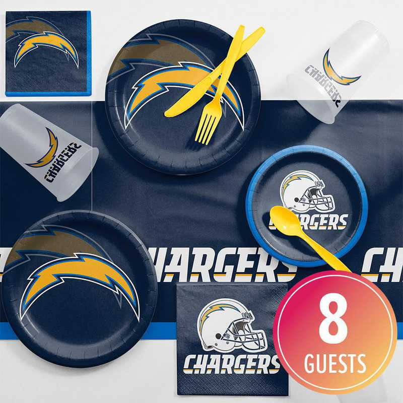 DTC9526C2A: CC Los Angeles Chargers Game Day Party Supplies Kit 8ct