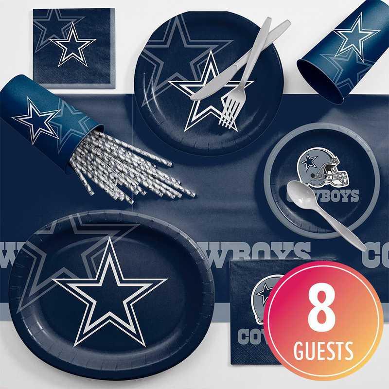 DTC9509C2C: CC Dallas Cowboys Ultimate Fan Party Supplies Kit 8ct