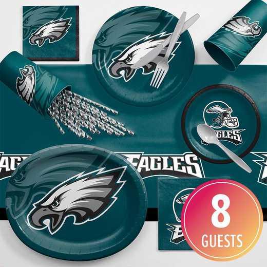 DTC9524C2C: CC Philadelphia Eagles Ultimate Fan Party Supplies Kit 8ct