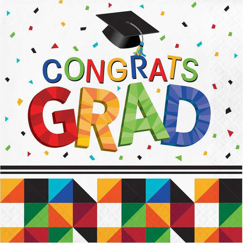 DTC328229NAP: CC Fractal Fun Graduation Napkins - 48 Count