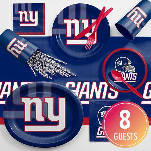 DTC9521C2C: CC New York Giants Ultimate Fan Party Supplies Kit 8ct