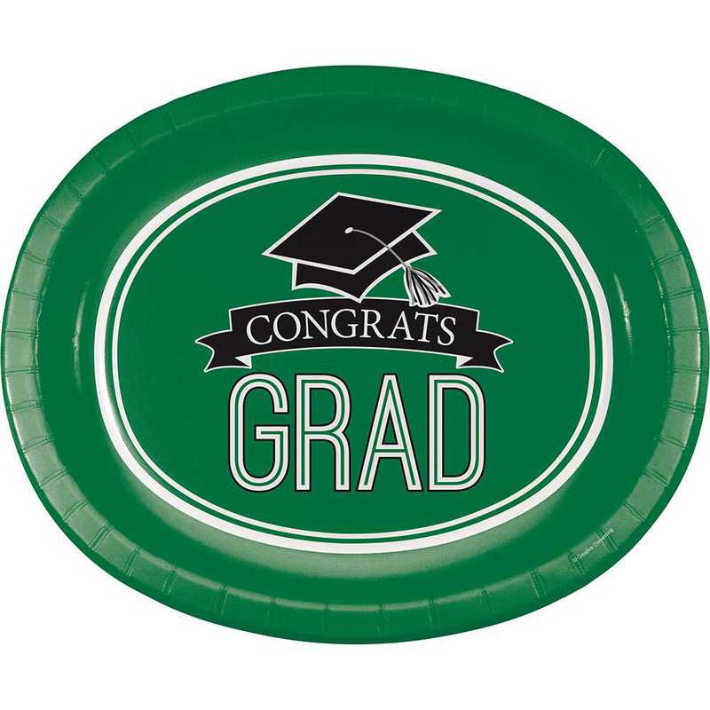DTC320061OVAL: CC Graduation School Spirit Green Oval Plates - 24 Count