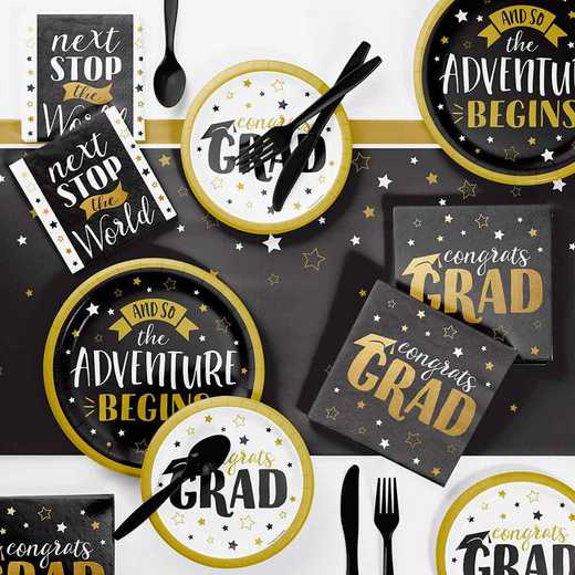 DTC4992E2B: Grad Adventure Deluxe Party Supplies Kit